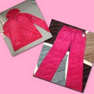 New Hot pink zip up hoodie and sweat pants set